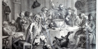 A Midnight Modern Conversation, 1730 (William Hogarth, Wikimedia)