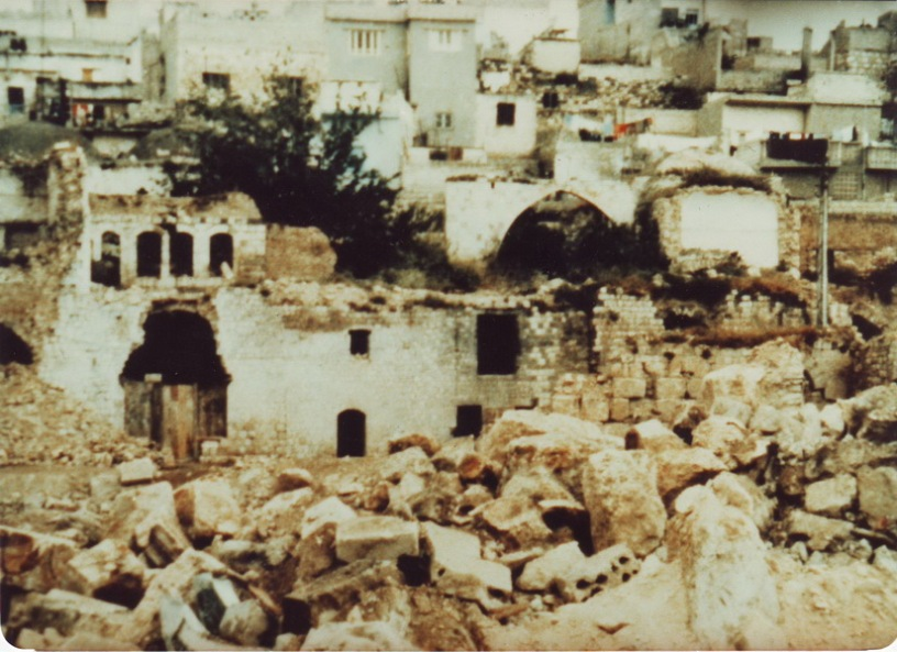 Photo of destruction in Hama following the Hama Massacre, 1982, (Source: Wikimedia)