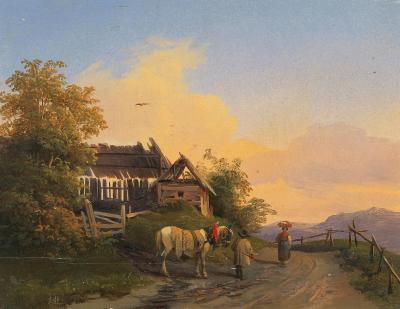 Ignaz Raffalt, Returning Home at Dusk, 1857, (Source: Wikimedia)